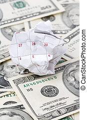Calendar paper ball and dollar
