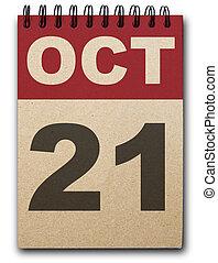 Calendar - 21 October calendar on recycle paper