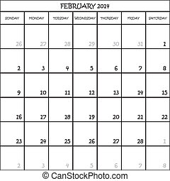CALENDAR PLANNER FEBRUARY 2014 ON TRANSPARENT BACKGROUND