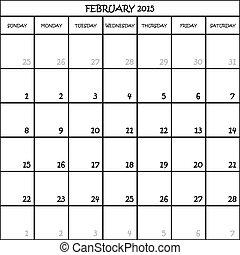 CALENDAR PLANNER FEBRUARY 2015 ON TRANSPARENT BACKGROUND