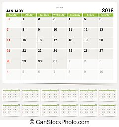 calendar planner for year 2018 green version