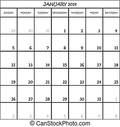CALENDAR PLANNER MONTH JANUARY 2014 ON TRANSPARENT BACKGROUND