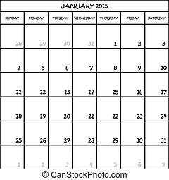 CALENDAR PLANNER MONTH JANUARY 2015 ON TRANSPARENT BACKGROUND