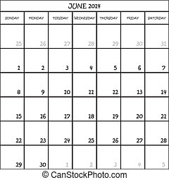 CALENDAR PLANNER MONTH JUNE 2014 ON TRANSPARENT BACKGROUND