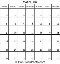 CALENDAR PLANNER MONTH MARCH 2014 ON TRANSPARENT BACKGROUND
