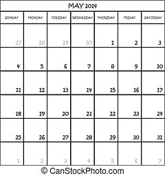 CALENDAR PLANNER MONTH MAY 2014 ON TRANSPARENT BACKGROUND