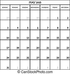CALENDAR PLANNER MONTH MAY 2015 ON TRANSPARENT BACKGROUND