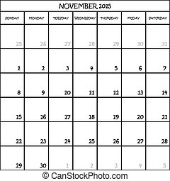 CALENDAR PLANNER MONTH NOVEMBER 2015 ON TRANSPARENT BACKGROUND