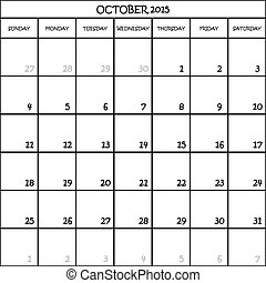 CALENDAR PLANNER MONTH OCTOBER 2015 ON TRANSPARENT BACKGROUND