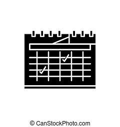 Calendar planning black icon, vector sign on isolated background. Calendar planning concept symbol, illustration