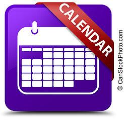 Calendar purple square button red ribbon in corner