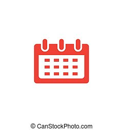 Calendar Red Icon On White Background. Red Flat Style Vector Illustration.