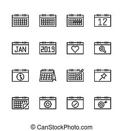 Calendar related icon set. Vector illustration