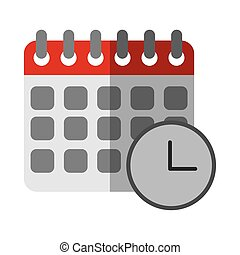 calendar reminder clock time flat icon with shadow