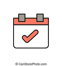 calendar reminder, line style icon