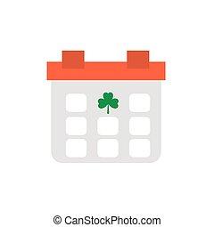 calendar reminder st patrick day, flat style icon