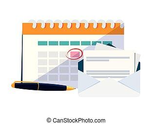 calendar reminder with envelope and pen