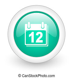 calendar round glossy web icon on white background