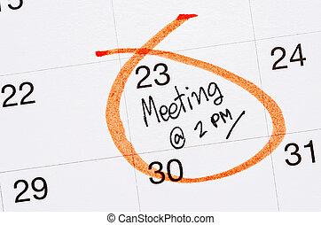 calendar., scritto, appuntamento, riunione