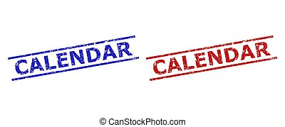 Blue and red CALENDAR seal stamps on a white background. Flat vector distress seal stamps with CALENDAR title between parallel lines. Watermarks with grunge surface.