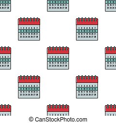 Calendar seamless pattern in cartoon style isolated on white background vector illustration