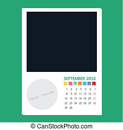Calendar September 2014, Photo frame background