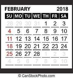 calendar sheet february 2018
