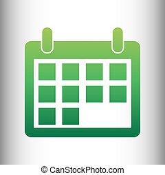 Calendar sign. Green gradient icon