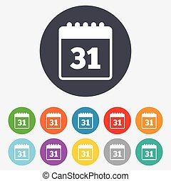 Calendar sign icon. Date or event reminder symbol. Round colourful 11 buttons. Vector
