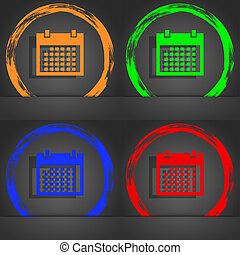 Calendar sign icon. days month symbol. Date button. Fashionable modern style. In the orange, green, blue, red design.