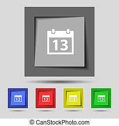 Calendar sign icon. days month symbol. Date button. Set colur buttons. Vector