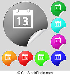 Calendar sign icon. days month symbol. Date button. Set of eight multi colored round buttons, stickers.
