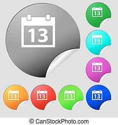 Calendar sign icon. days month symbol. Date button. Set of eight multi colored round buttons, stickers. Vector