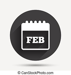 Calendar sign icon. February month symbol.