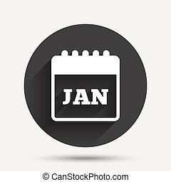 Calendar sign icon. January month symbol.