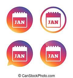Calendar sign icon. January month symbol.