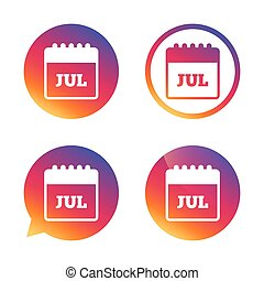 Calendar sign icon. July month symbol.