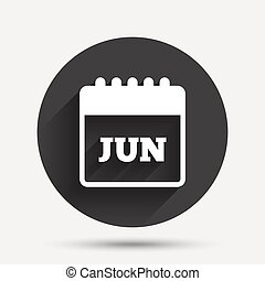 Calendar sign icon. June month symbol.