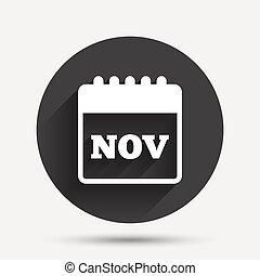 Calendar sign icon. November month symbol.