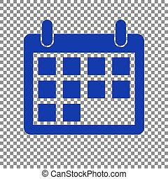 Calendar sign illustration. Blue icon on transparent background.