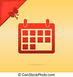 Calendar sign illustration. Cristmas design red icon on gold background.