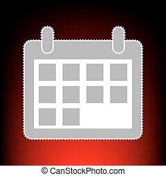 Calendar sign illustration. Postage stamp or old photo style on red-black gradient background.