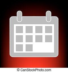 Calendar sign illustration. Postage stamp or old photo style on red-black gradient background.