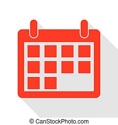 Calendar sign illustration. Red icon with flat style shadow path.