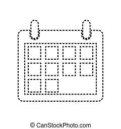 Calendar sign illustration. Vector. Black dashed icon on white background. Isolated.