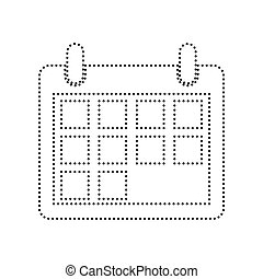 Calendar sign illustration. Vector. Black dotted icon on white background. Isolated.