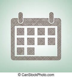 Calendar sign illustration. Vector. Brown flax icon on green background with light spot at the center.
