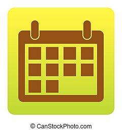 Calendar sign illustration. Vector. Brown icon at green-yellow gradient square with rounded corners on white background. Isolated.