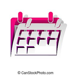 Calendar sign illustration. Vector. Detachable paper with shadow