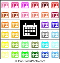 Calendar sign illustration. Vector. Felt-pen 33 colorful icons at white and black backgrounds. Colorfull.